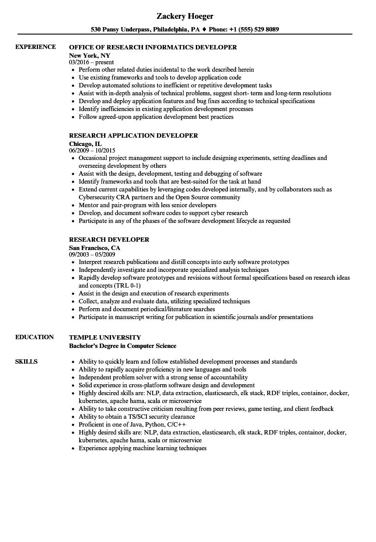 research developer resume samples