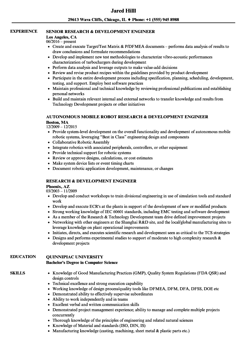 Research Development Engineer Resume Samples Velvet Jobs