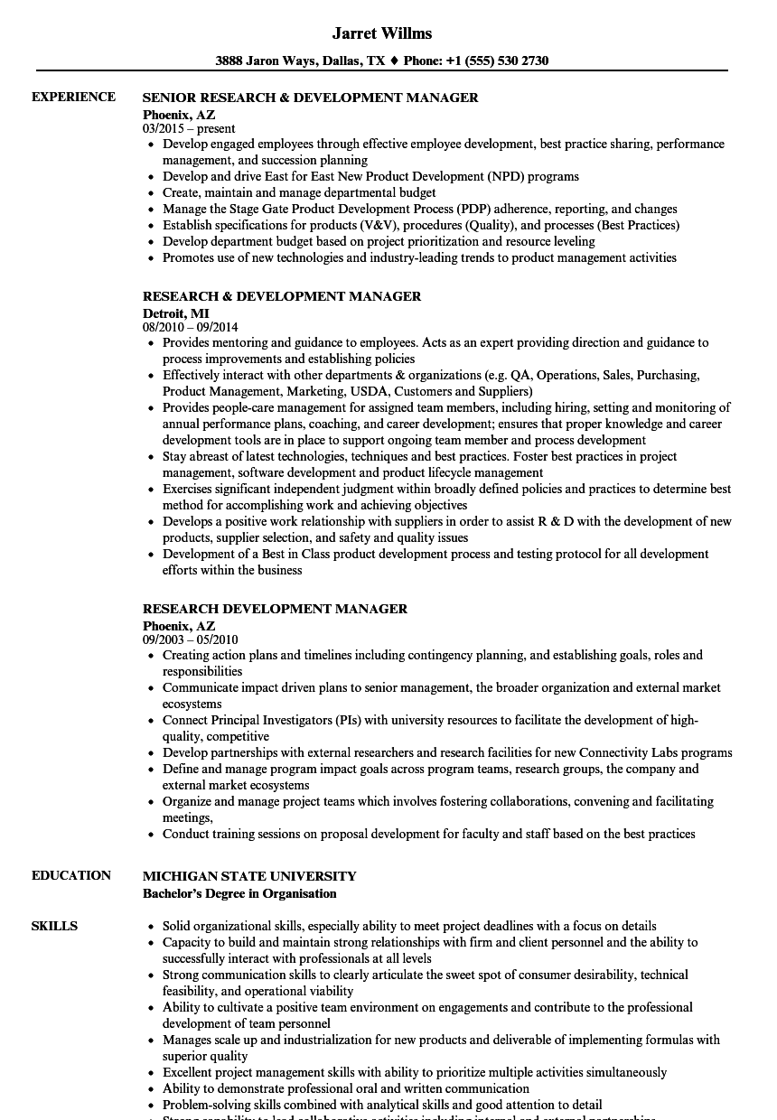 research  u0026 development manager resume samples