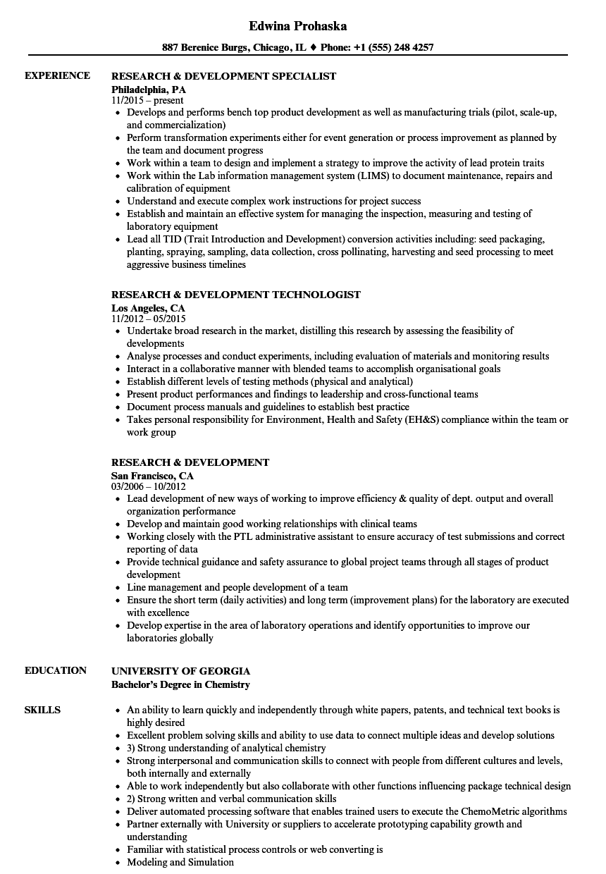 Research Development Resume Samples Velvet Jobs