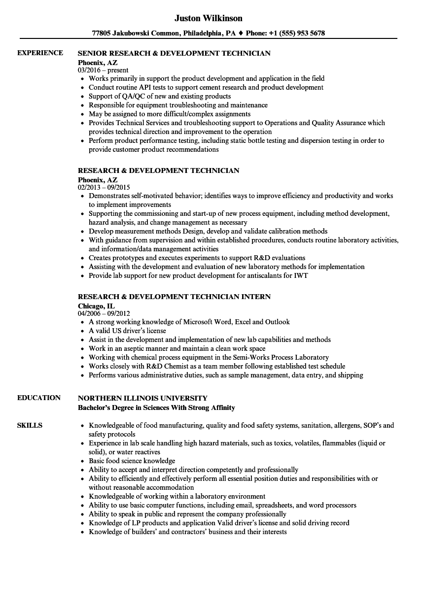 research  u0026 development technician resume samples