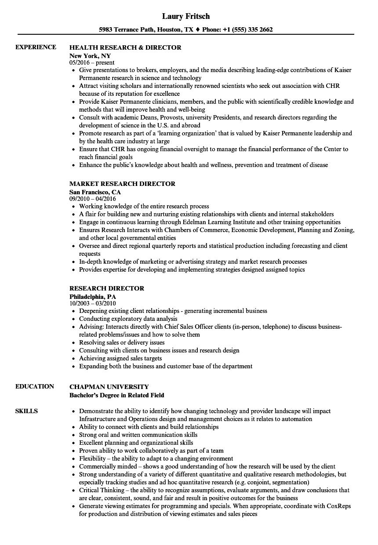 Research Director Resume Samples | Velvet Jobs