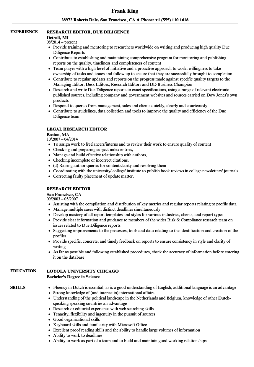 research editor resume samples