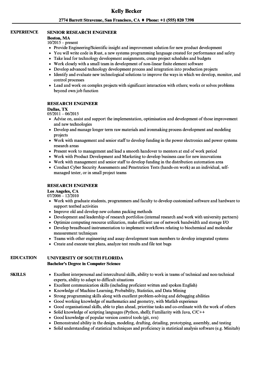Research Engineer Resume Samples | Velvet Jobs
