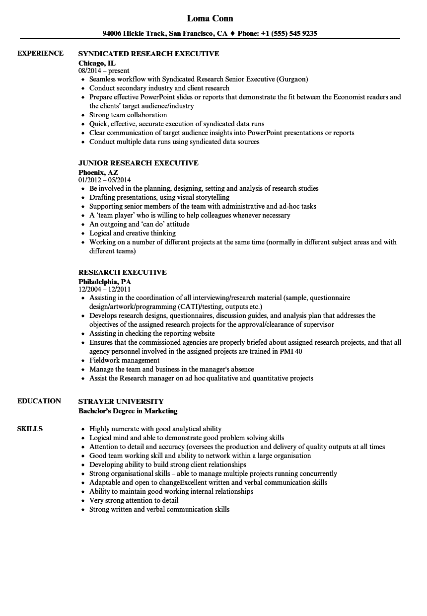 Research Executive Resume Samples | Velvet Jobs
