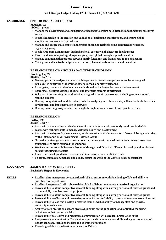 research fellow resume samples