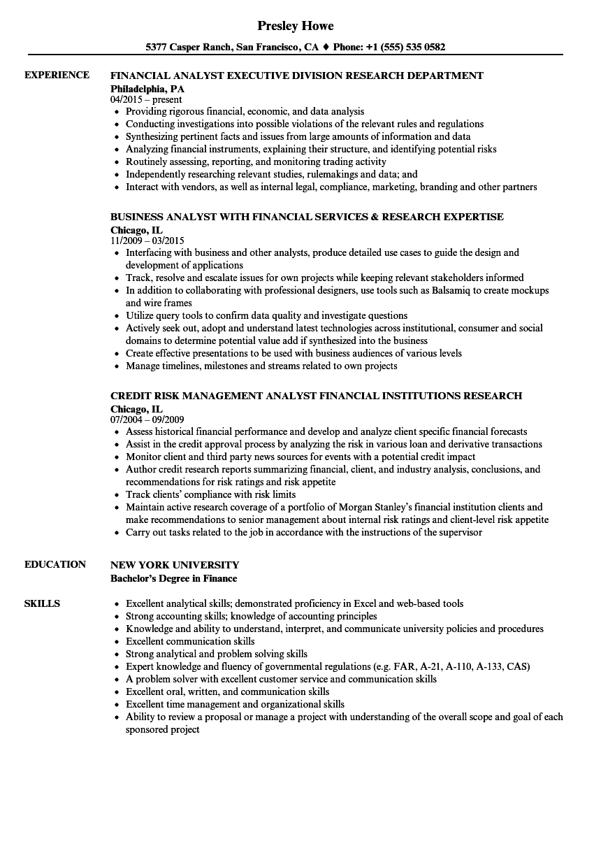 Research Financial Analyst Resume Samples | Velvet Jobs
