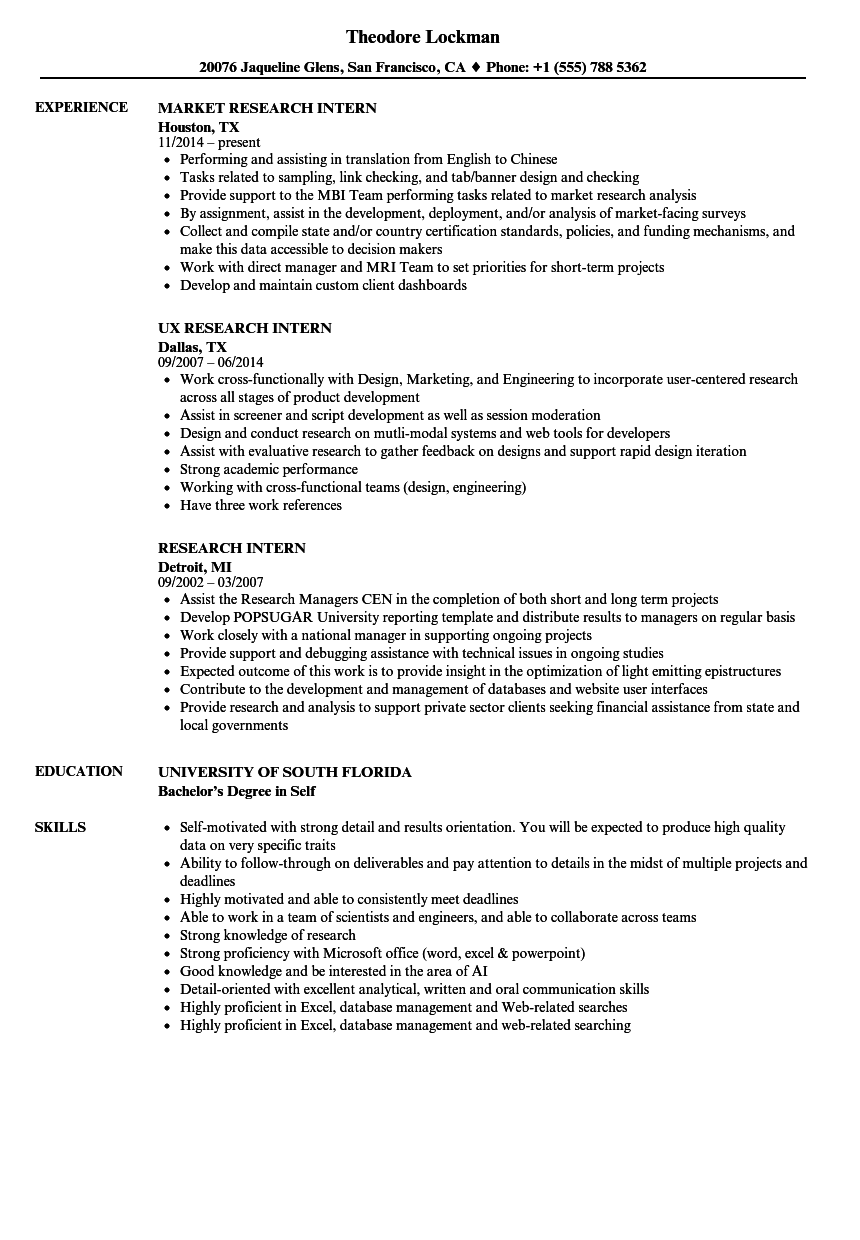 research intern resume samples