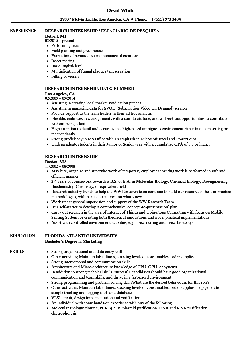 Research Internship Resume Samples   Velvet Jobs