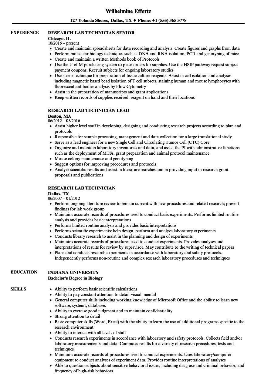 Research Lab Technician Resume Samples | Velvet Jobs