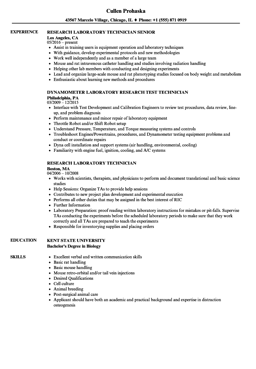 Research Laboratory Technician Resume Samples | Velvet Jobs