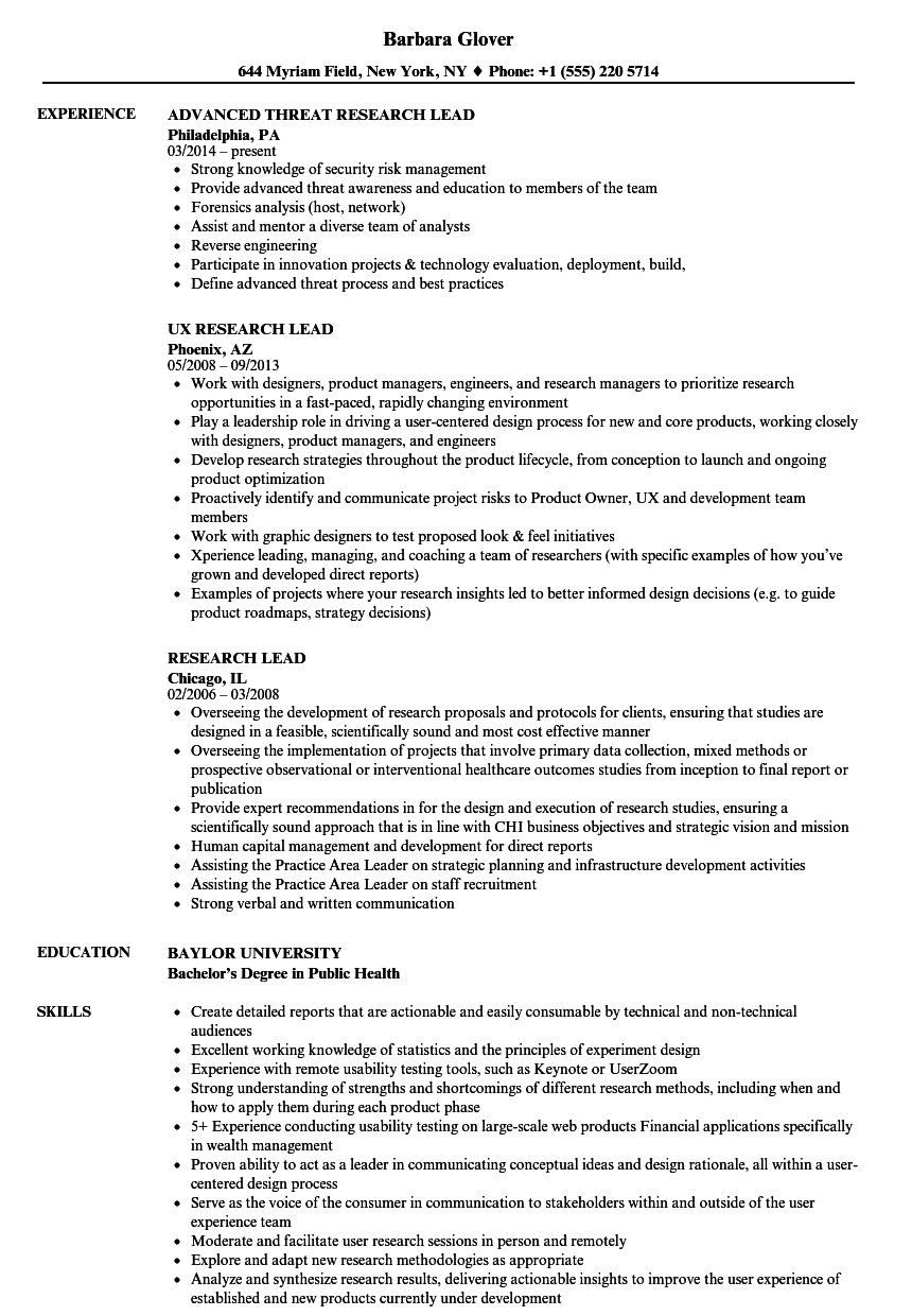 research lead resume samples