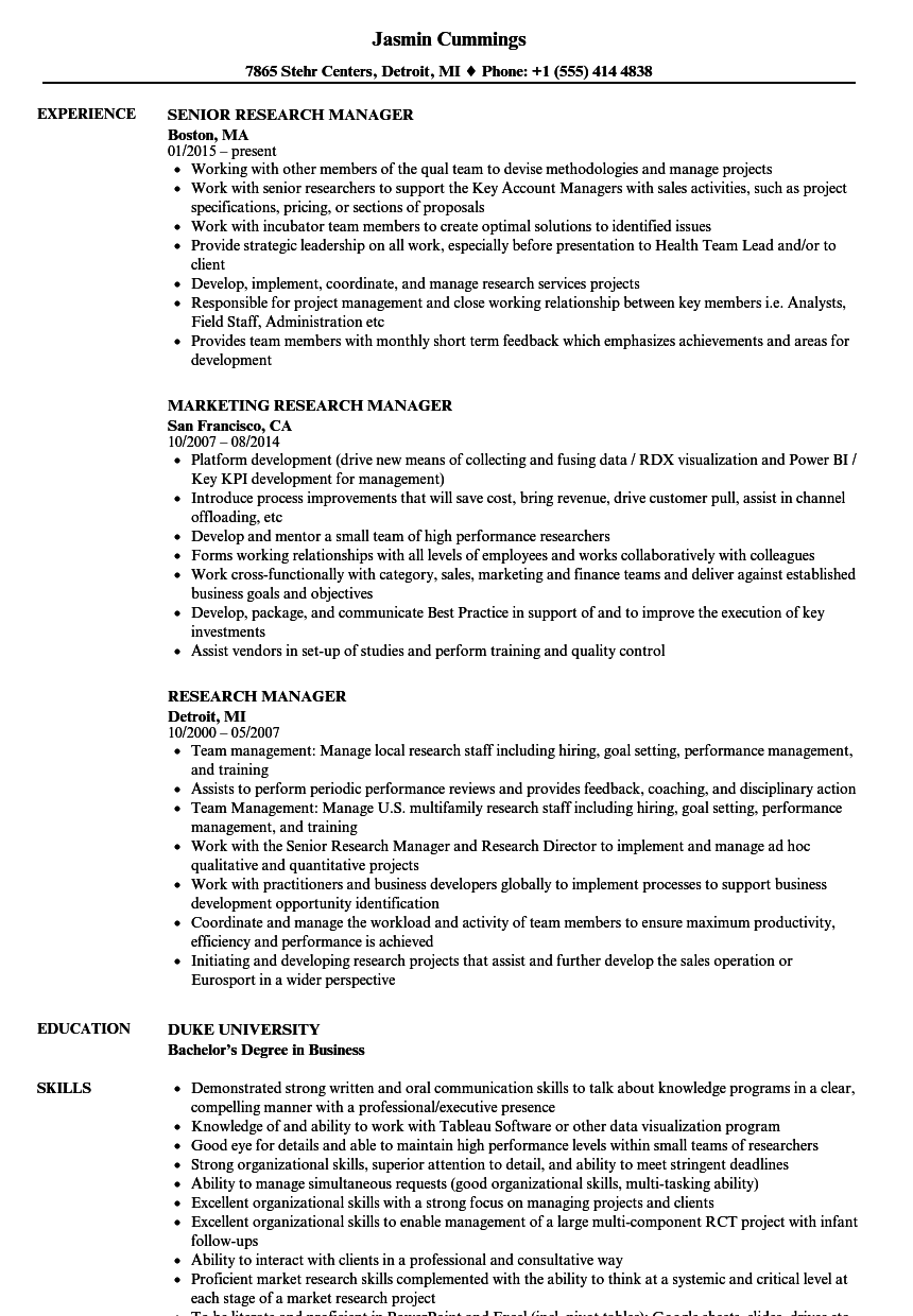 research manager resume samples