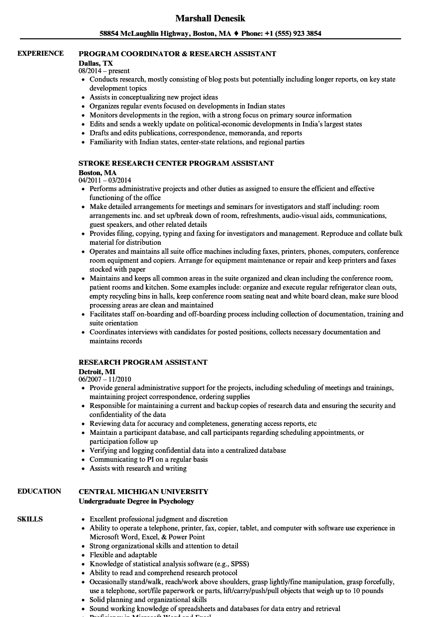 Research Program Assistant Resume Samples Velvet Jobs