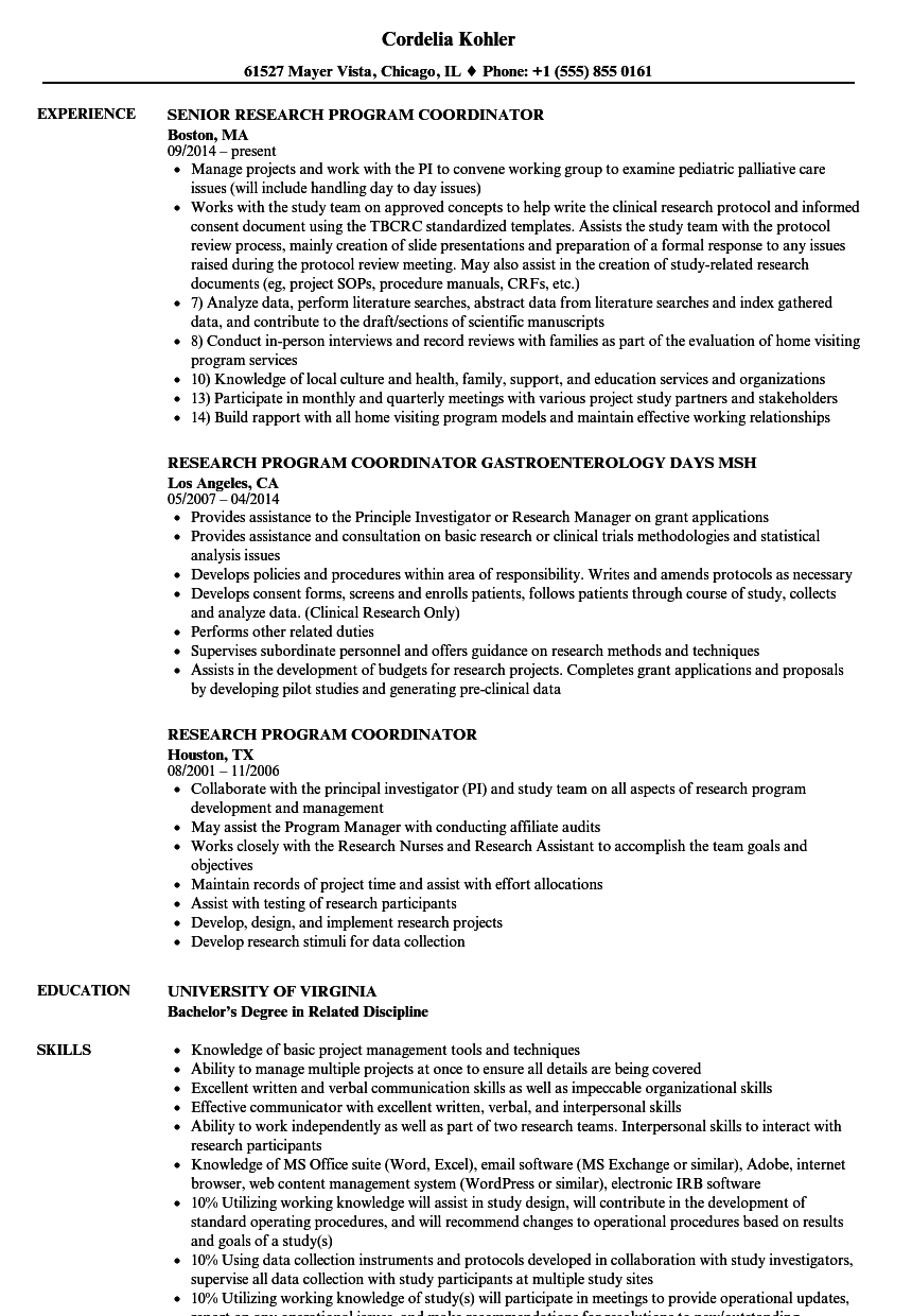 research program coordinator resume samples