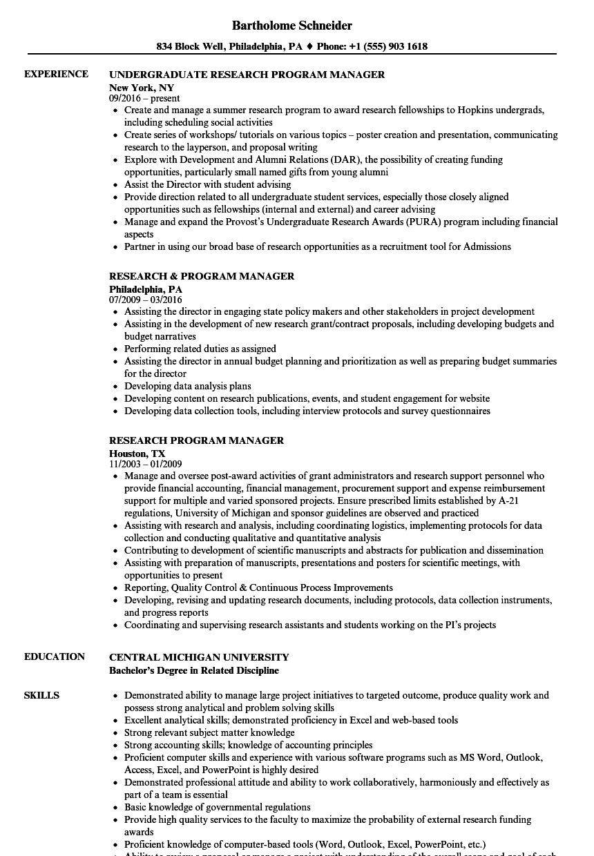 research program manager resume samples