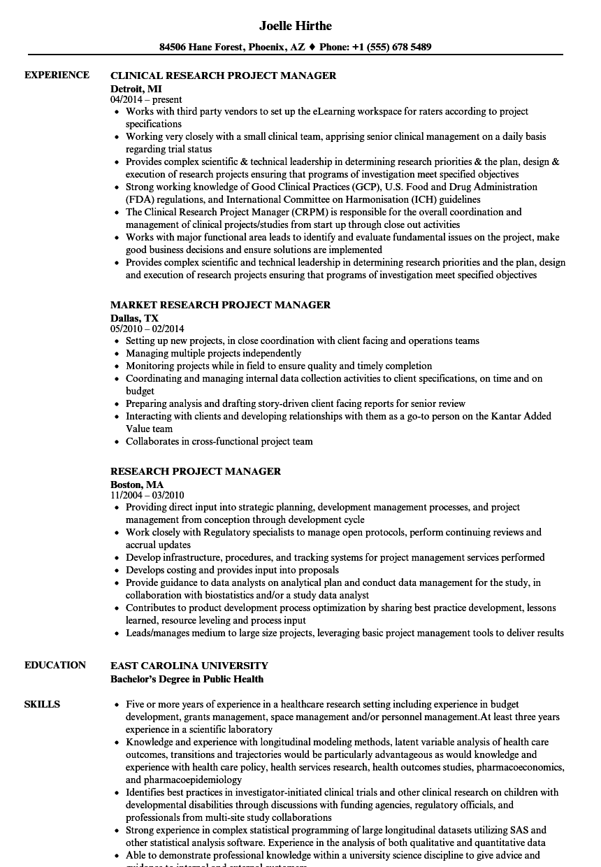 Research Project Manager Resume Samples Velvet Jobs