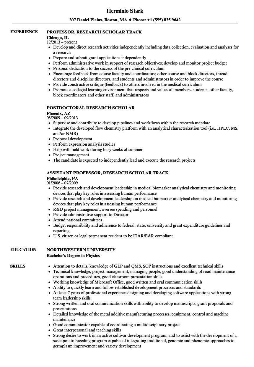 Research Scholar Resume Samples Velvet Jobs