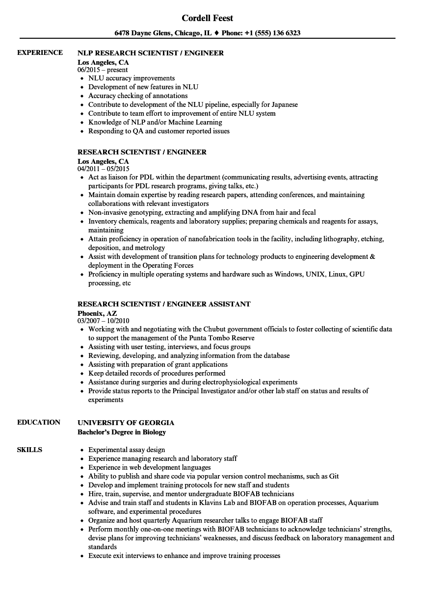research scientist    engineer resume samples
