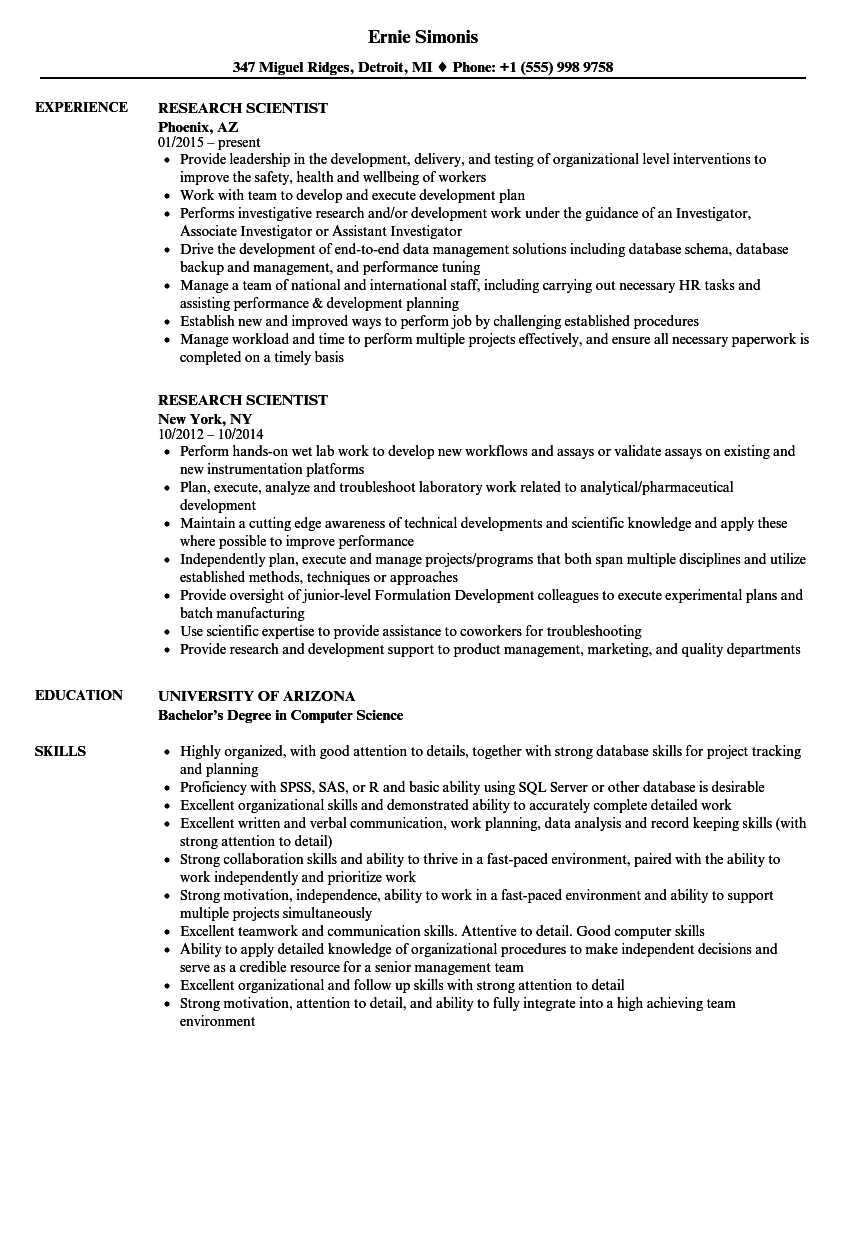research scientist resume samples velvet jobs
