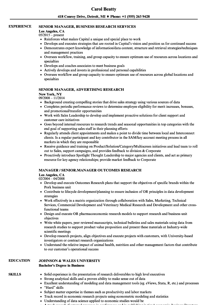 research senior manager resume samples