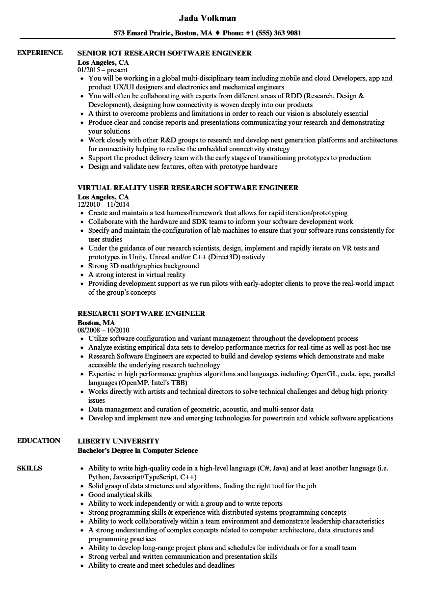 Research Software Engineer Resume Samples Velvet Jobs