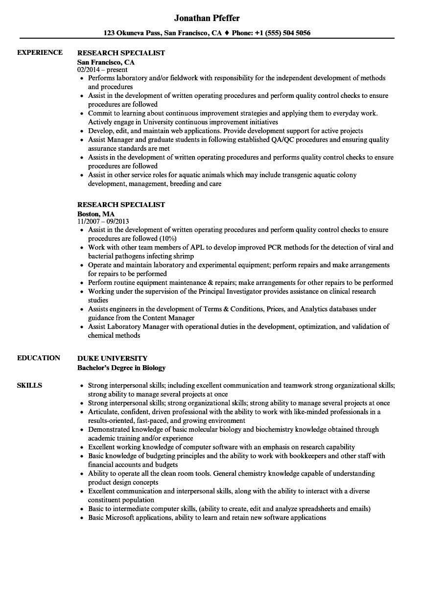 Research Specialist Resume Samples
