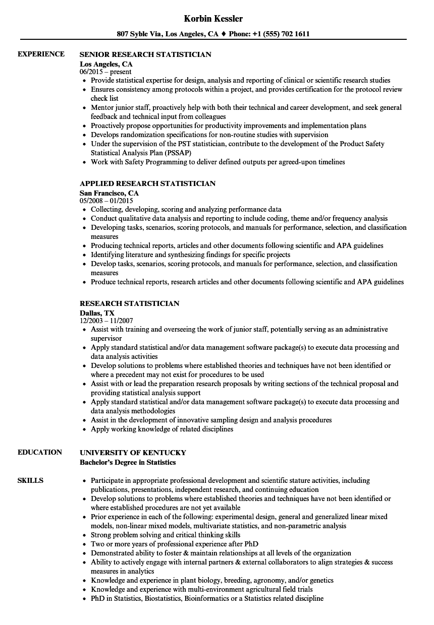 research statistician resume samples