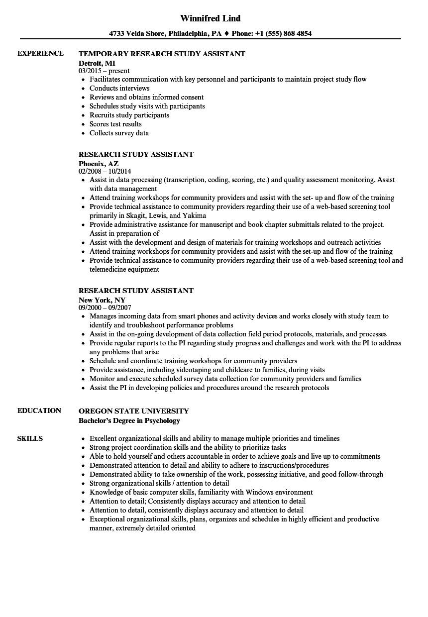 research study assistant resume samples