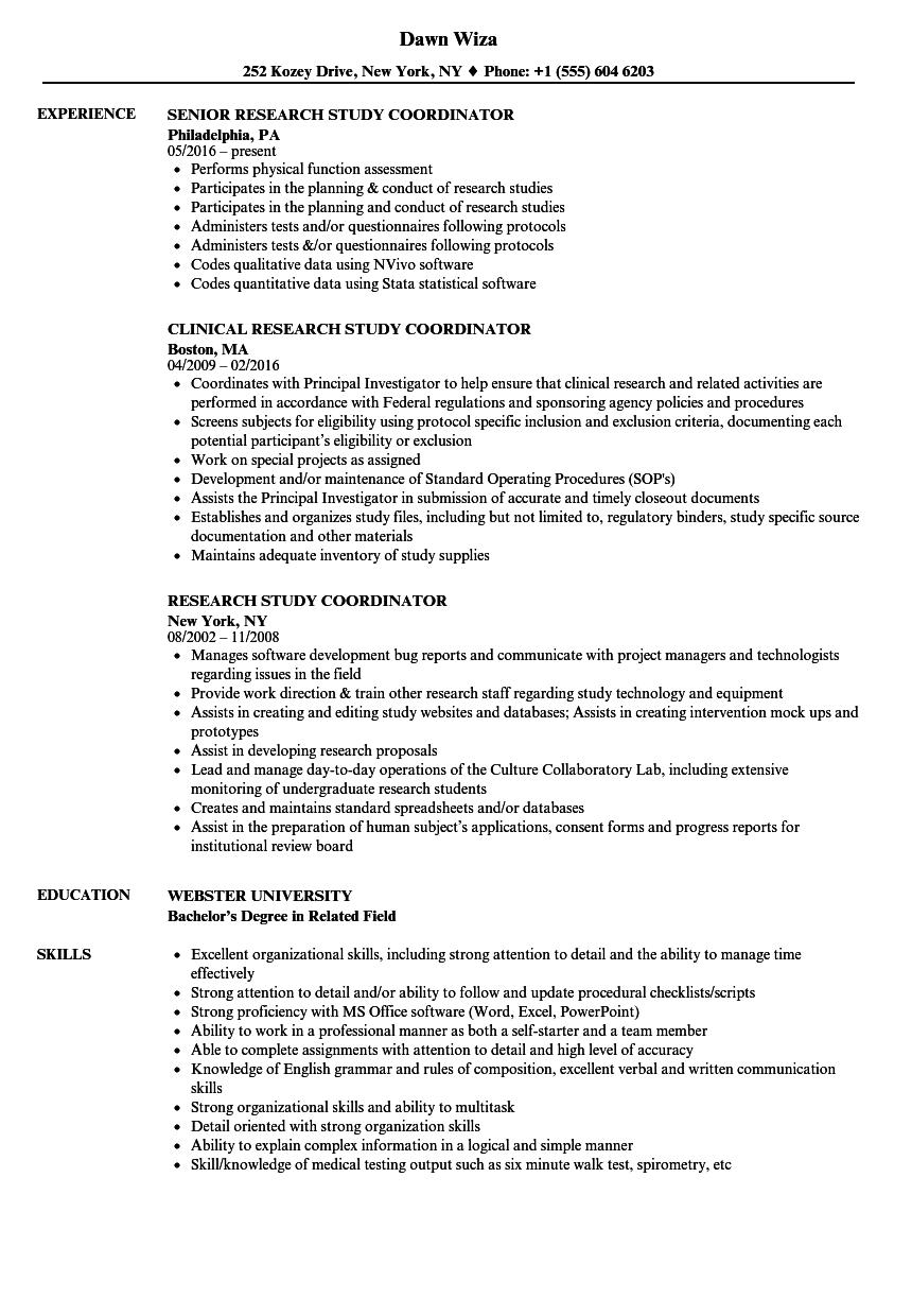 research study coordinator resume samples