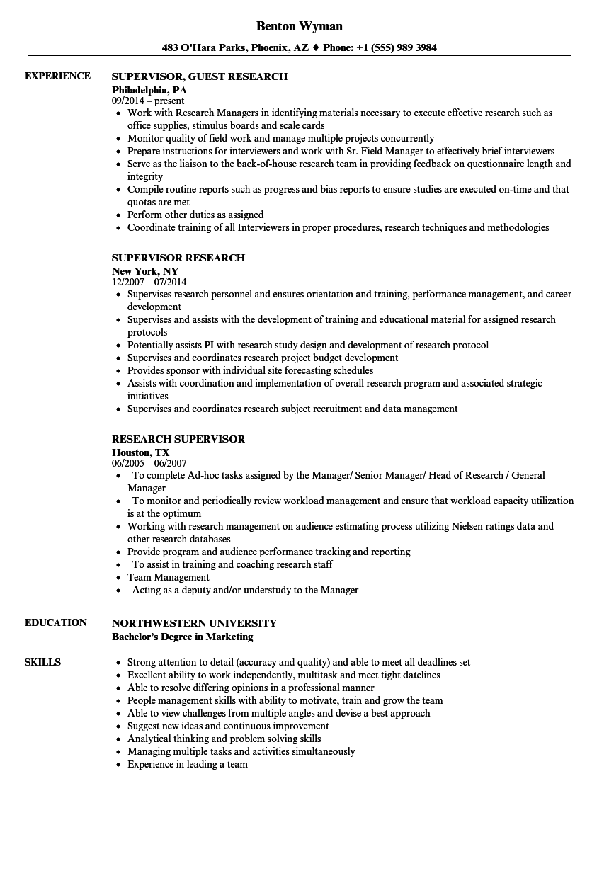 research supervisor resume samples