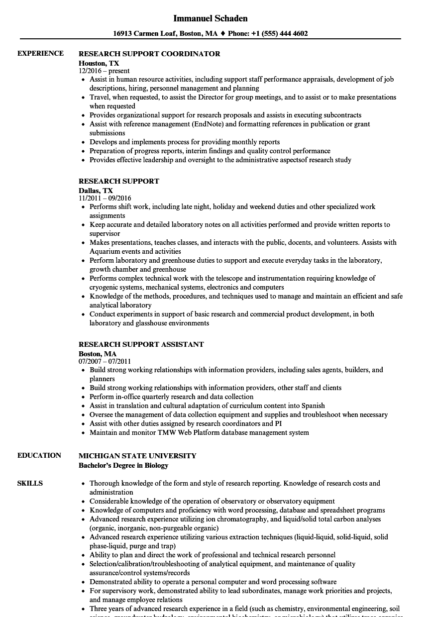 research support resume samples