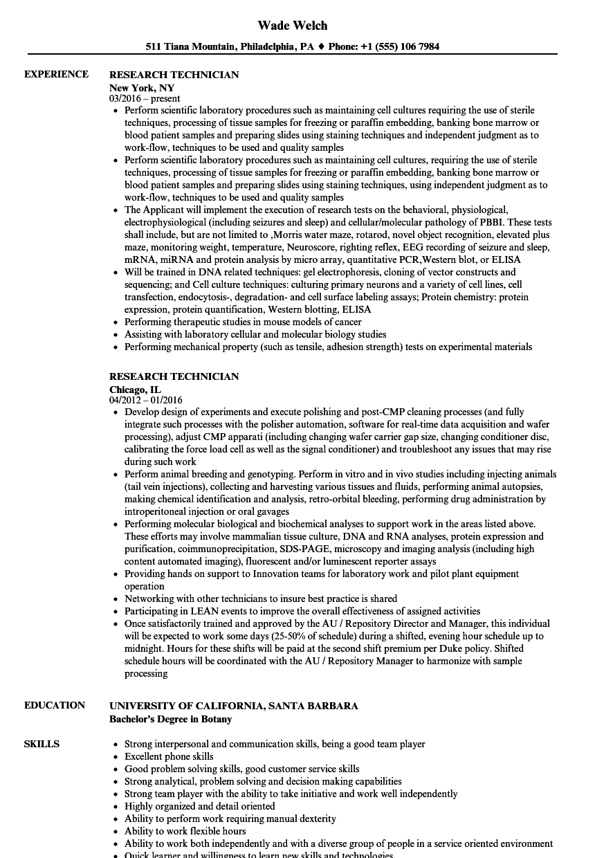 download research technician resume sample as image file research technician resume - Chemical Technician Resume