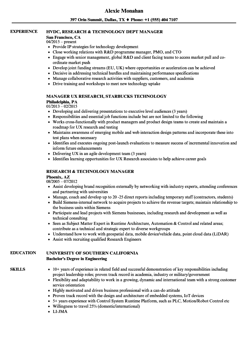 research  u0026 technology resume samples