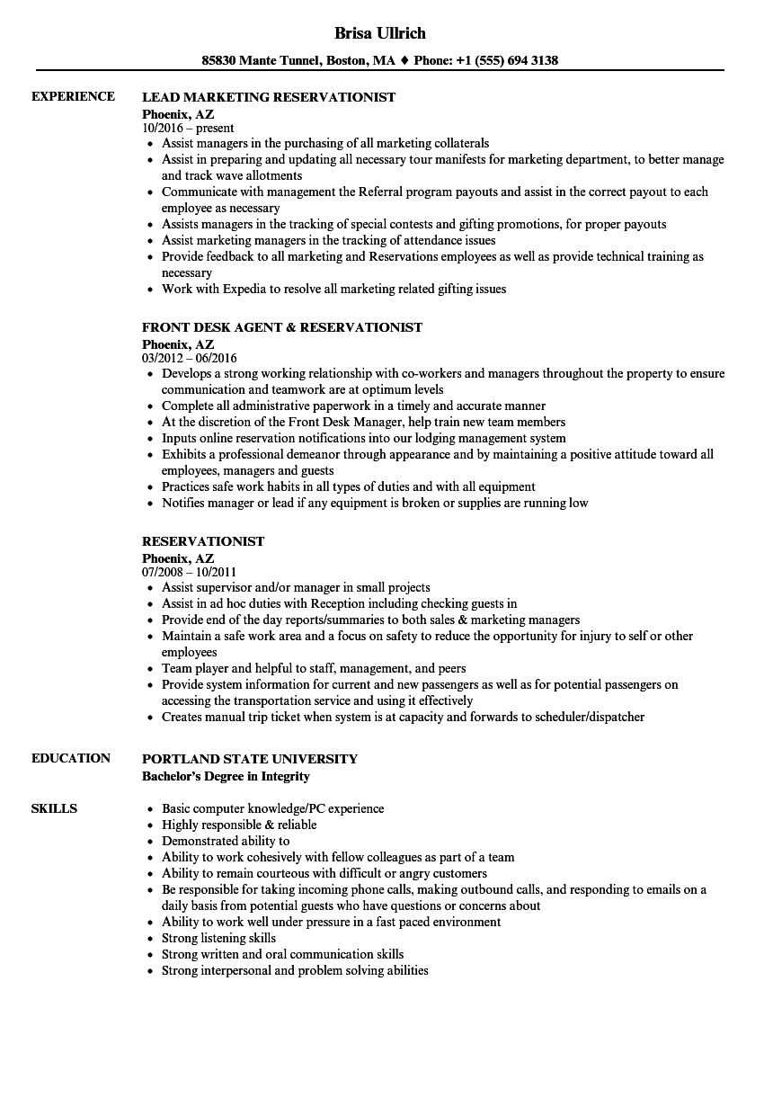 reservationist resume samples