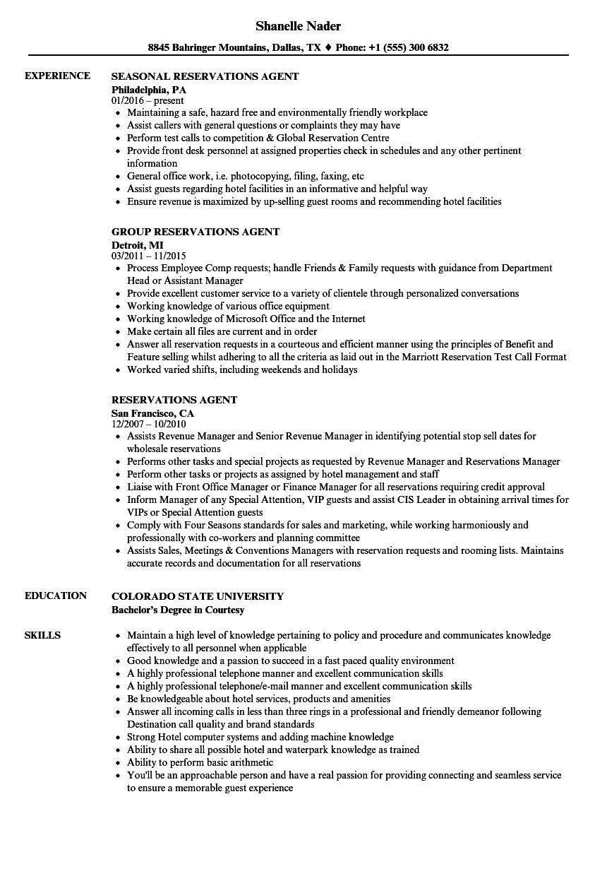 reservations agent resume samples