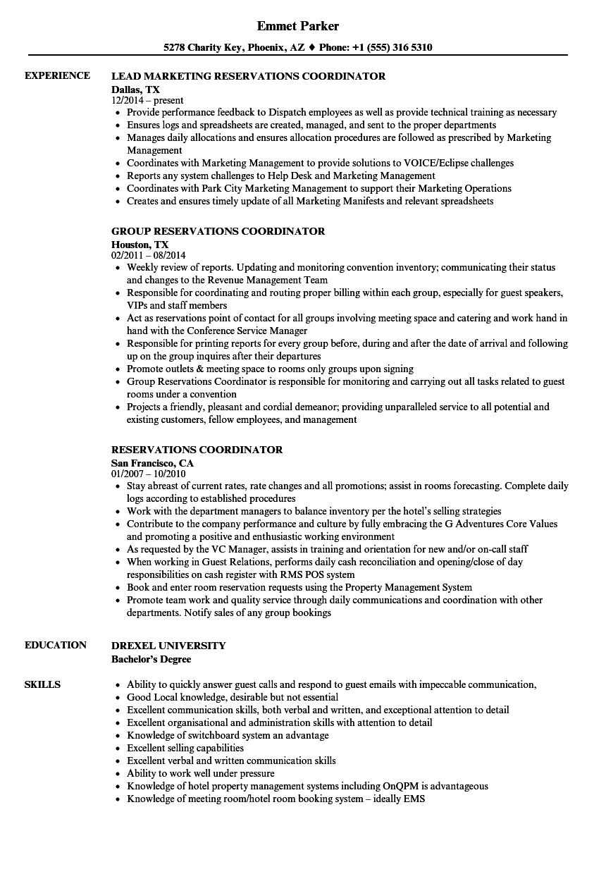 reservations coordinator resume samples
