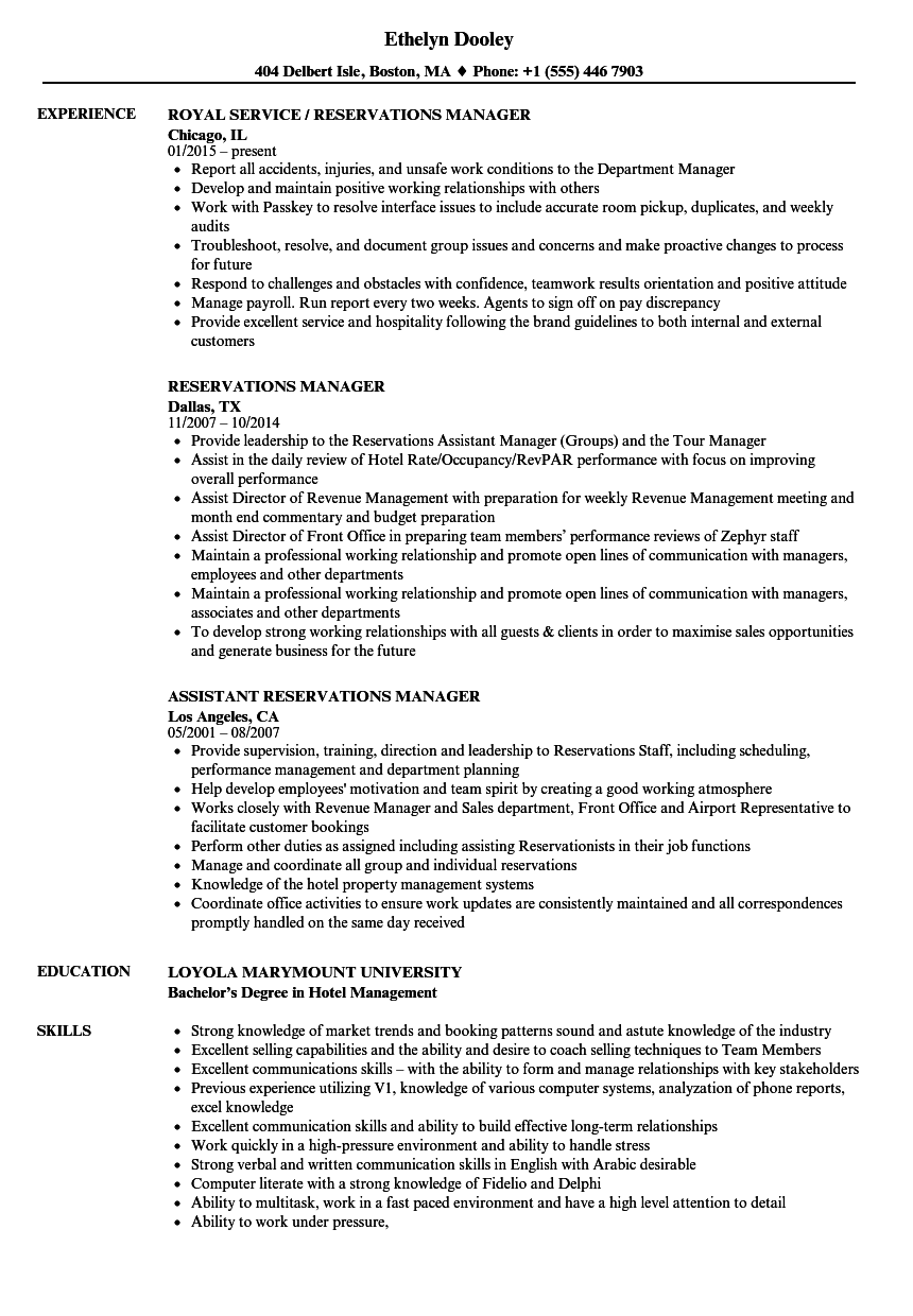 reservations manager resume samples