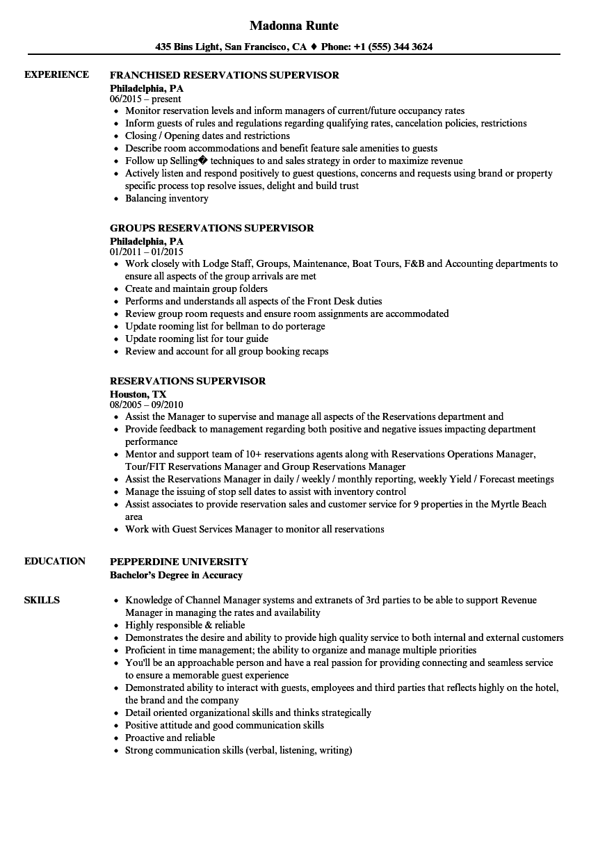 reservations supervisor resume samples