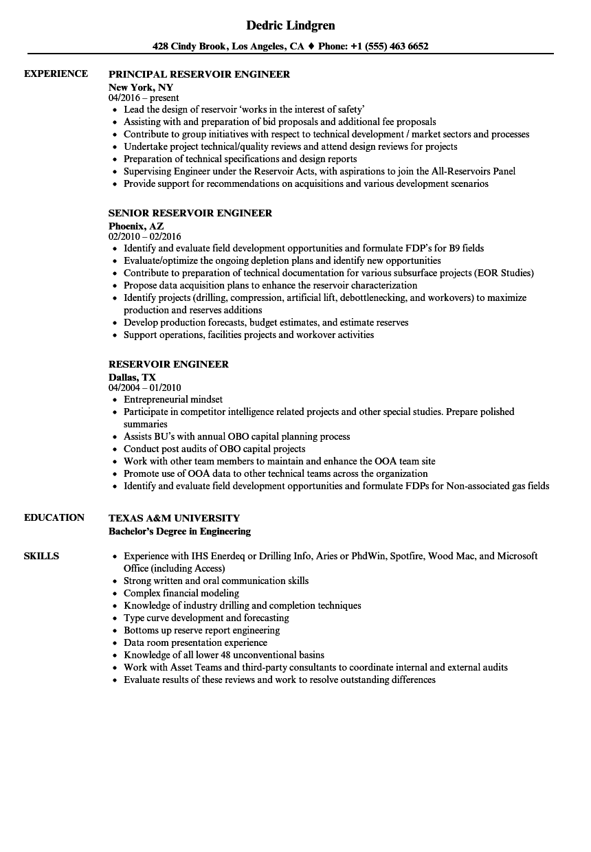 reservoir engineer resume samples