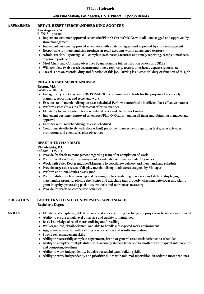 reset merchandiser resume samples