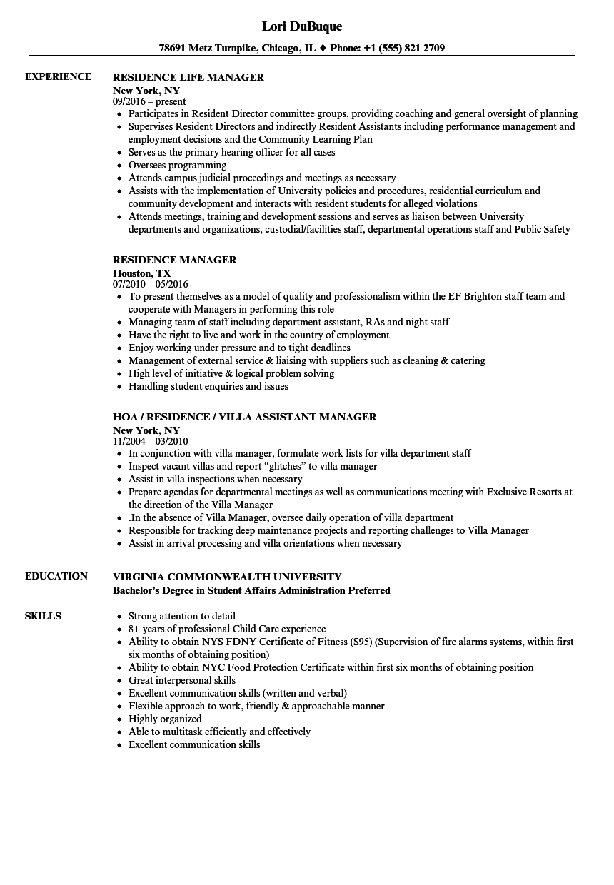Residence Manager Resume Samples | Velvet Jobs