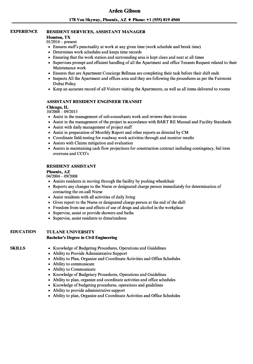 Resident Assistant Resume Samples | Velvet Jobs