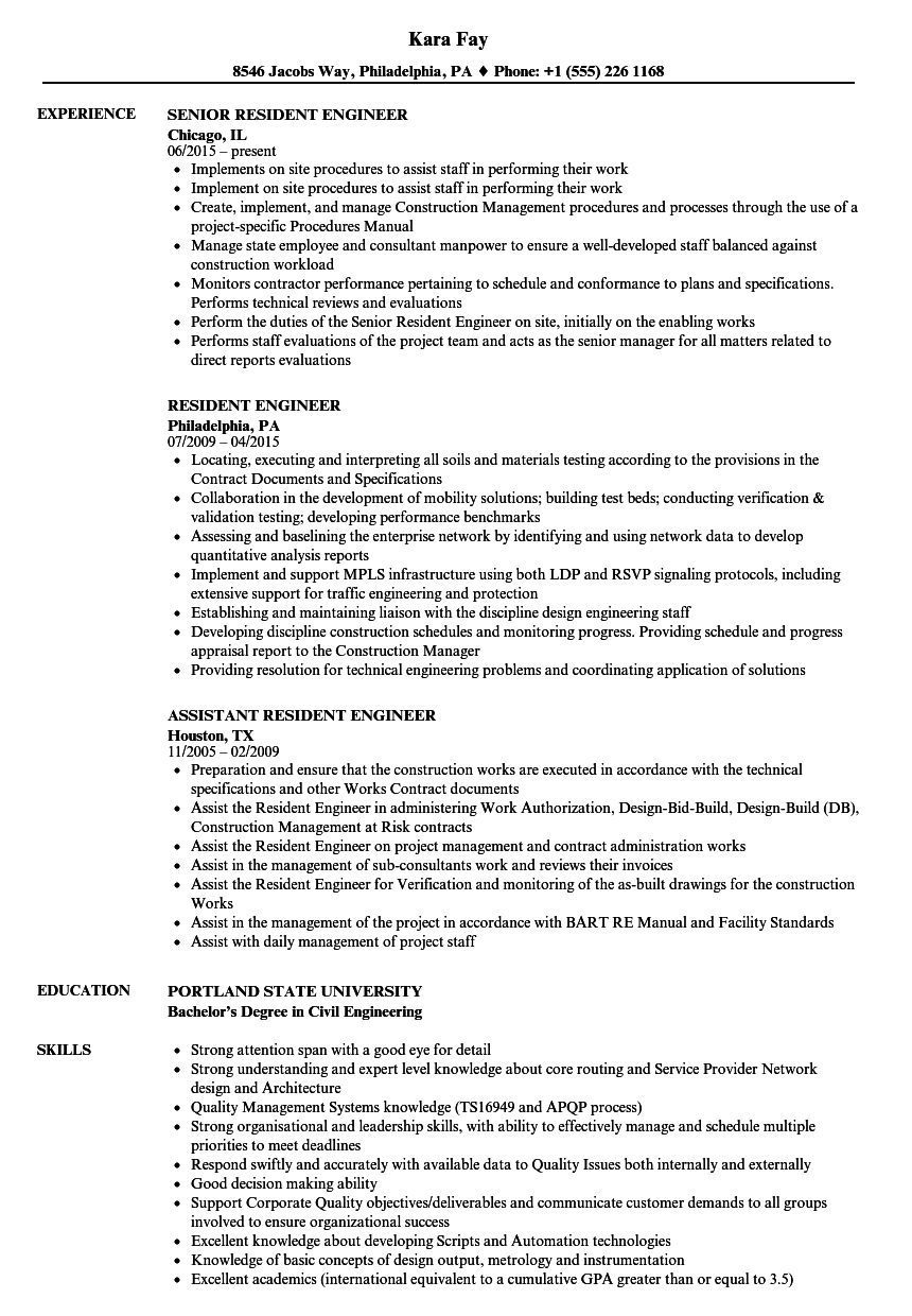 Resident Engineer Resume Samples | Velvet Jobs