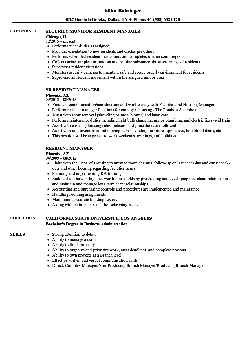 Resident Manager Resume Samples Velvet Jobs