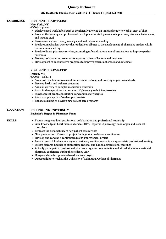 download resident pharmacist resume sample as image file - Pharmacist Resume Sample
