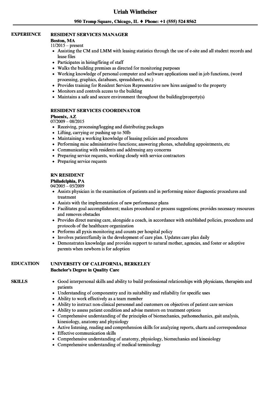 resident resume samples