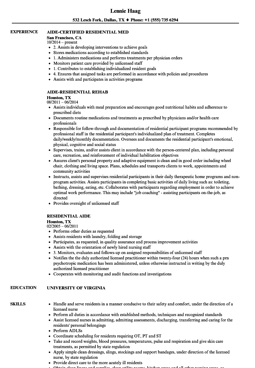 Download Residential Aide Resume Sample As Image File