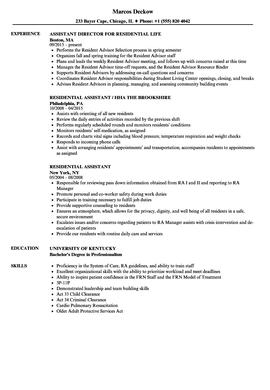 residential assistant resume samples