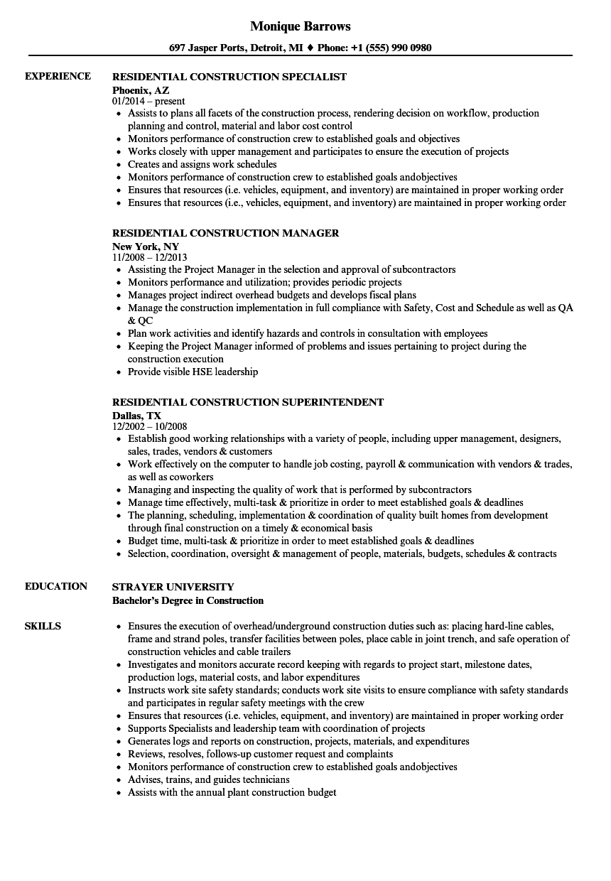 Residential Construction Resume Samples Velvet Jobs